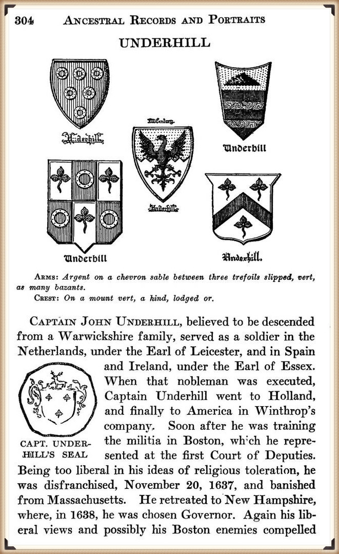 John Underhill in Ancestral Records, Colonial Dames