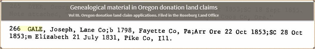 Joseph Gale land in Oregon