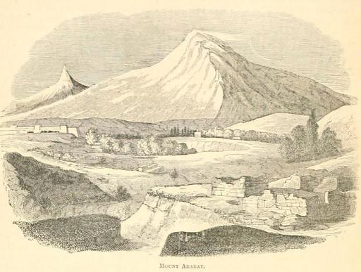 The ark rests atop of Mount Ararat