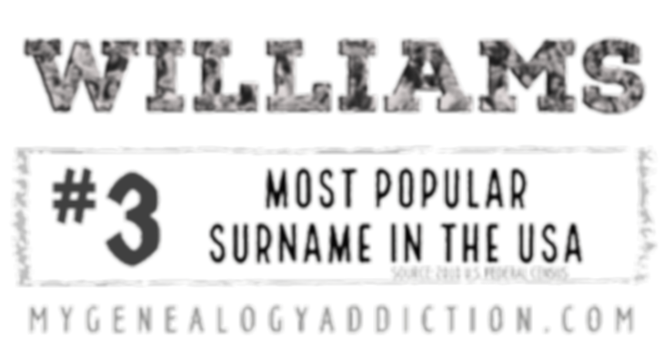 Williams, ranked 3rd among the most common surnames in the USA
