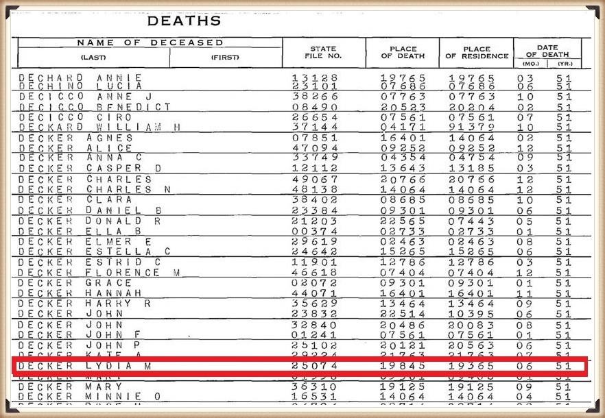Lydia (Mayo) Decker death index