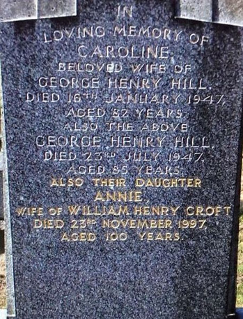 Caroline (Dickinson) Hill burial