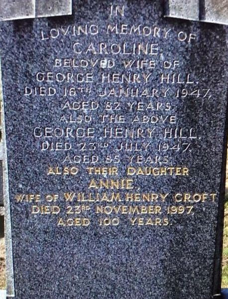 Caroline (Dickinson) Hill burial