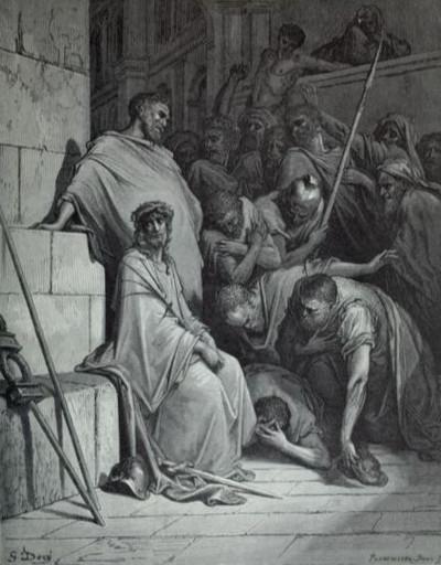 The soldiers mock Jesus