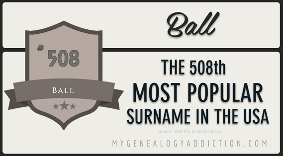 Ball is ranked #508 among the most common surnames in the U.S., according to the 2010 Census.