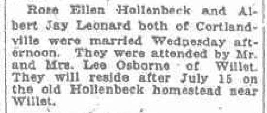 Albert J Leonard and Rose Hollenbeck marriage