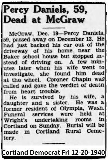 Percy H Daniels funeral