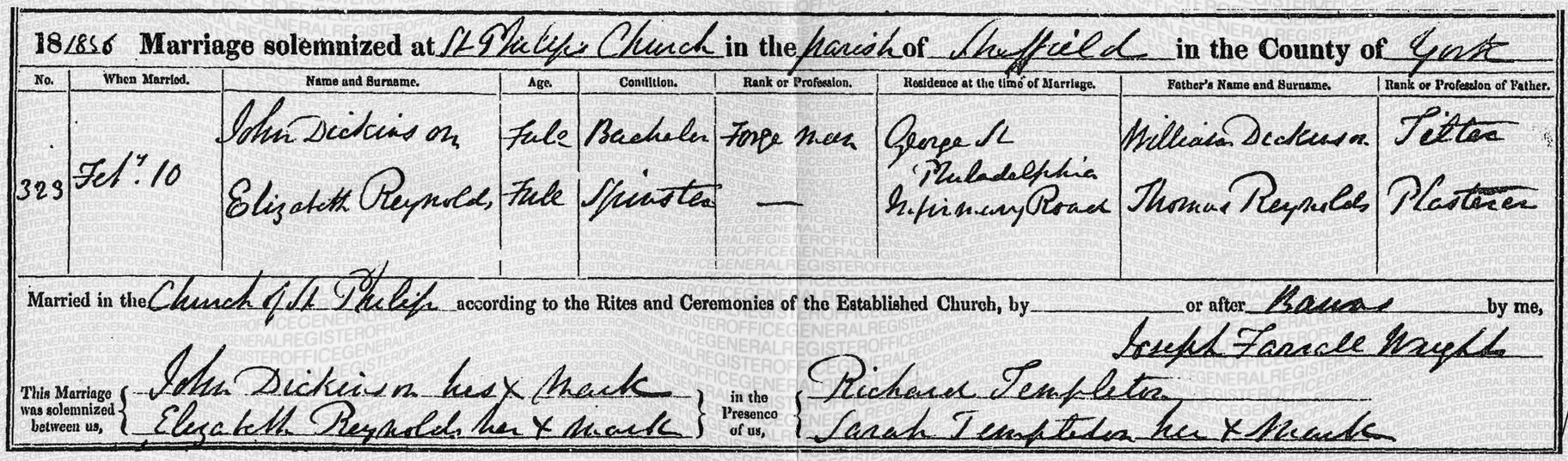 John Dickinson marriage license
