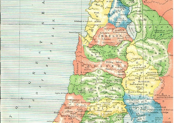 Map IV - CANAAN, AS DIVIDED BY JOSHUA AMONG THE TRIBES OF ISRAEL