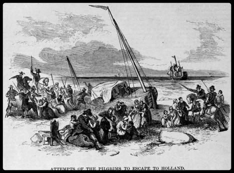 Pilgrims attempting escape from Holland