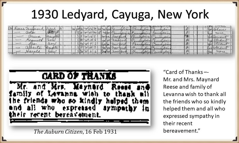 Ada and Maynard Reese on the census 1930 and 1940