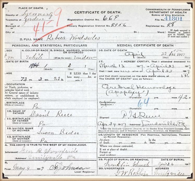 Rebecca (Reese) Temple death certificate
