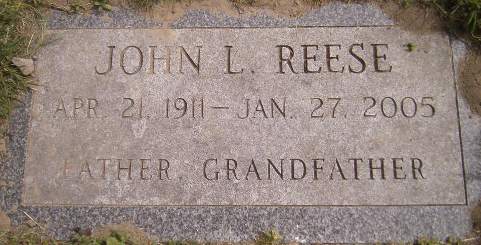 Lloyd John Reese burial