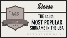 Reese surname statistics