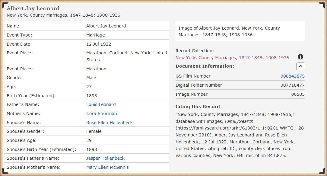 Albert Leonard and Rose Hollenbeck marriage license