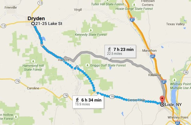 Distance from Lisle to Dryden, NY