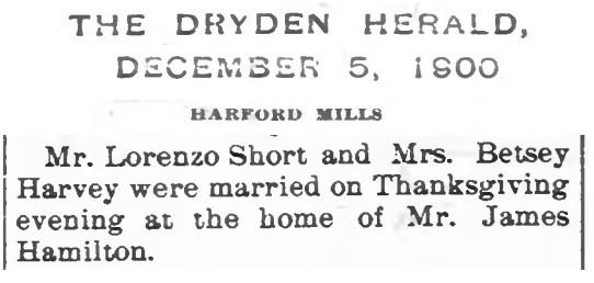 Betsey Harvey marries Lorenzo Short news