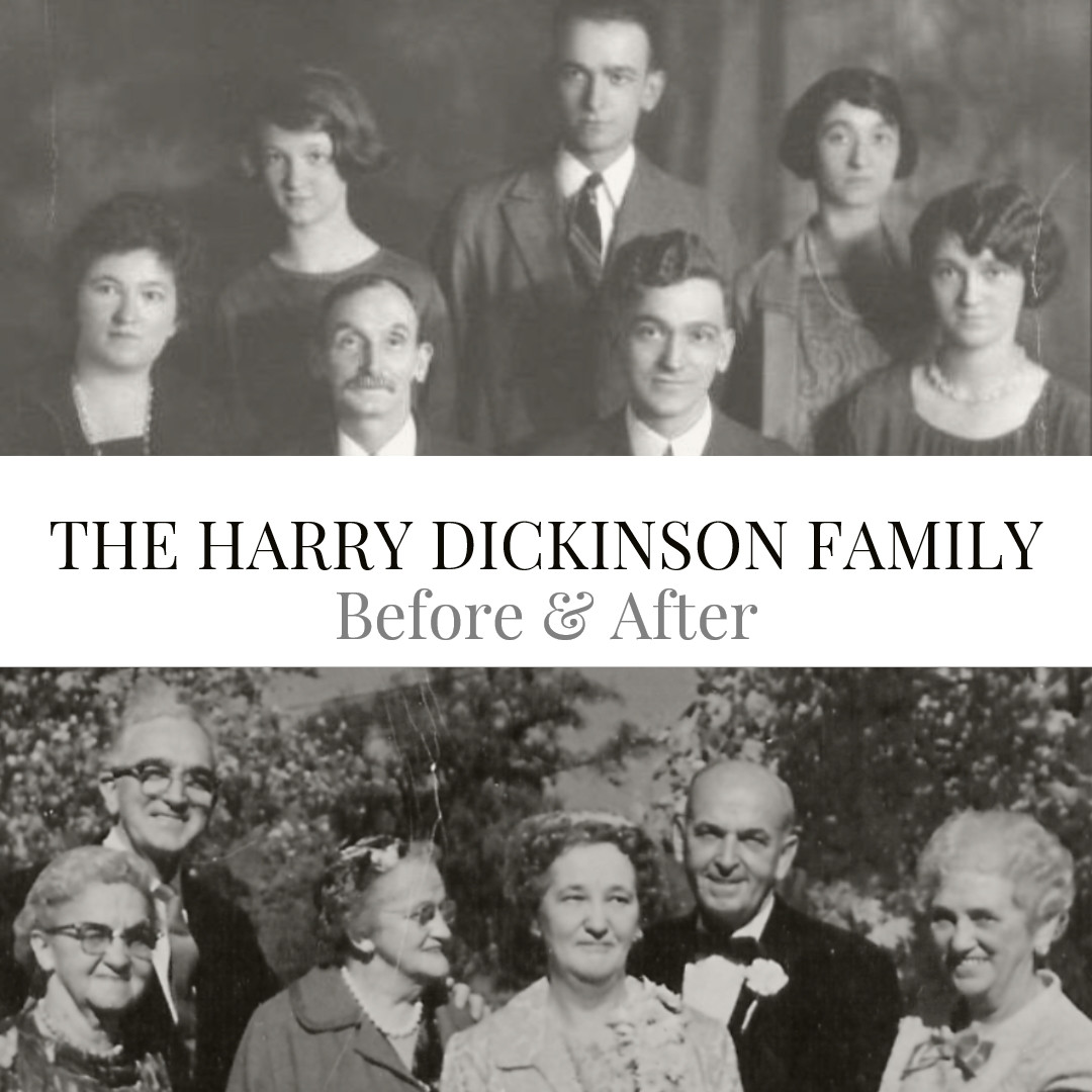 Children of Harry & Annie Dickinson in youth and old age