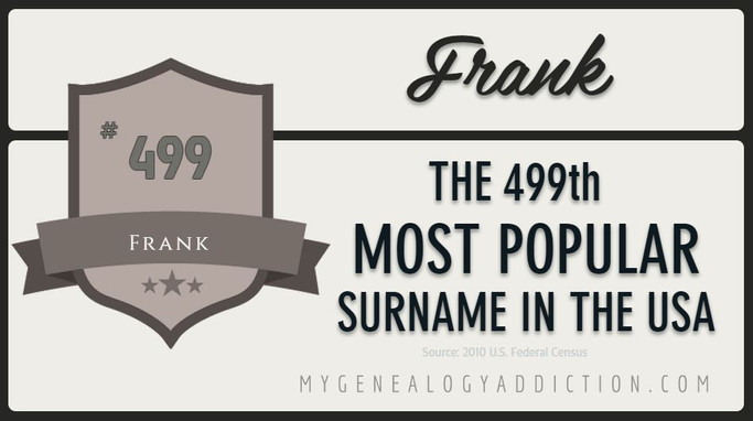 Frank, ranked 499th among the most common surnames in the USA