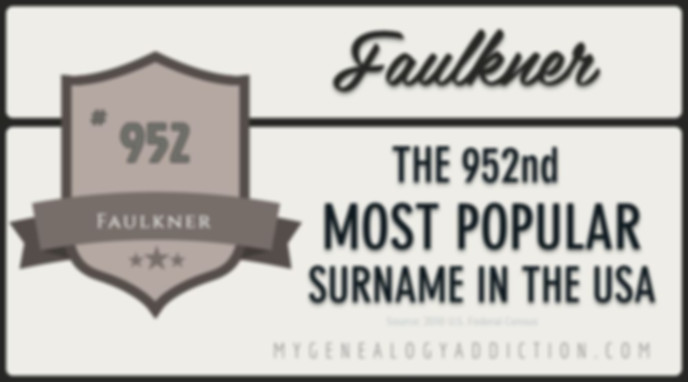 Faulkner, ranked 952nd among the most common surnames in the USA