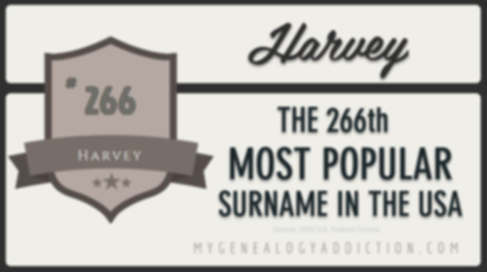 Harvey, ranked 266th among the most common surnames in the USA