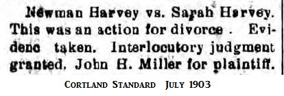 Newman Harvey divorces Sarah Harvey