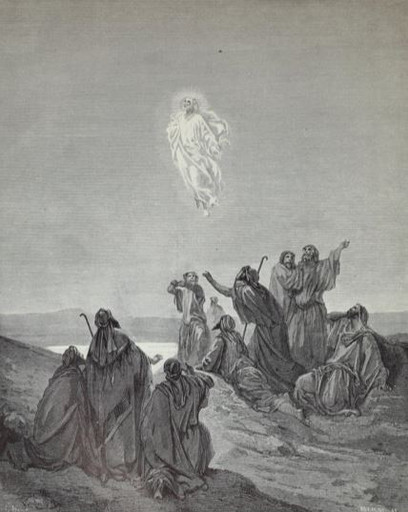 Jesus is carried up to heaven
