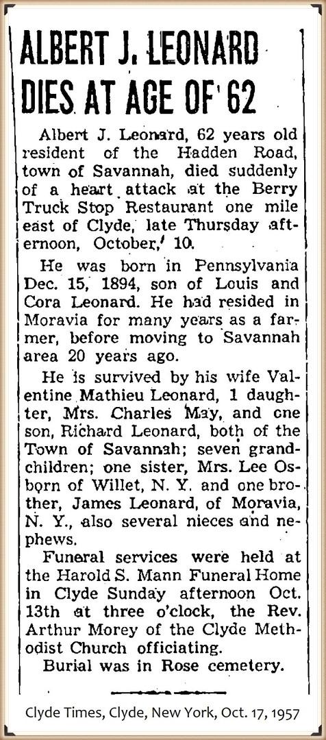 Albert J Leonard obituary
