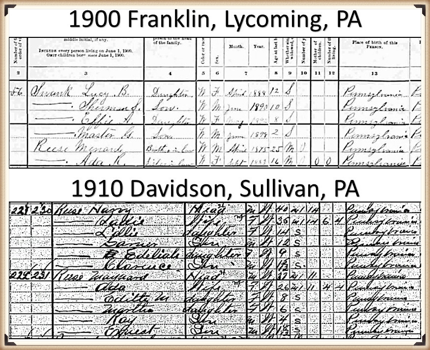 Maynard Reese and Ada Temple census 1900-1910