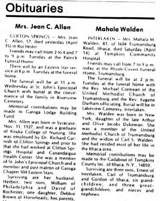 Mahala Mae Dykeman Walden obituary