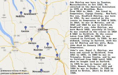 Job Shirley in Central New York map