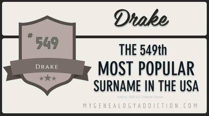 Drake, ranked 549th among the most common surnames in the USA