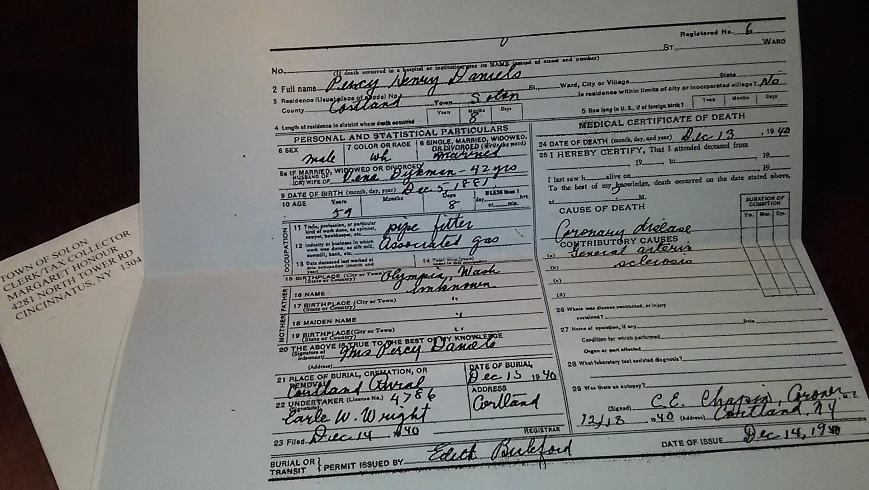 Percy H Daniels death certificate