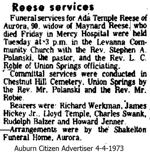 Ada (Temple) Reese funeral service
