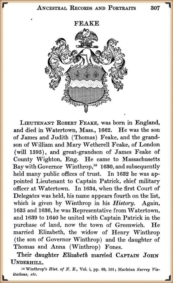 Lt Robert Feake of the Winthrop Fleet