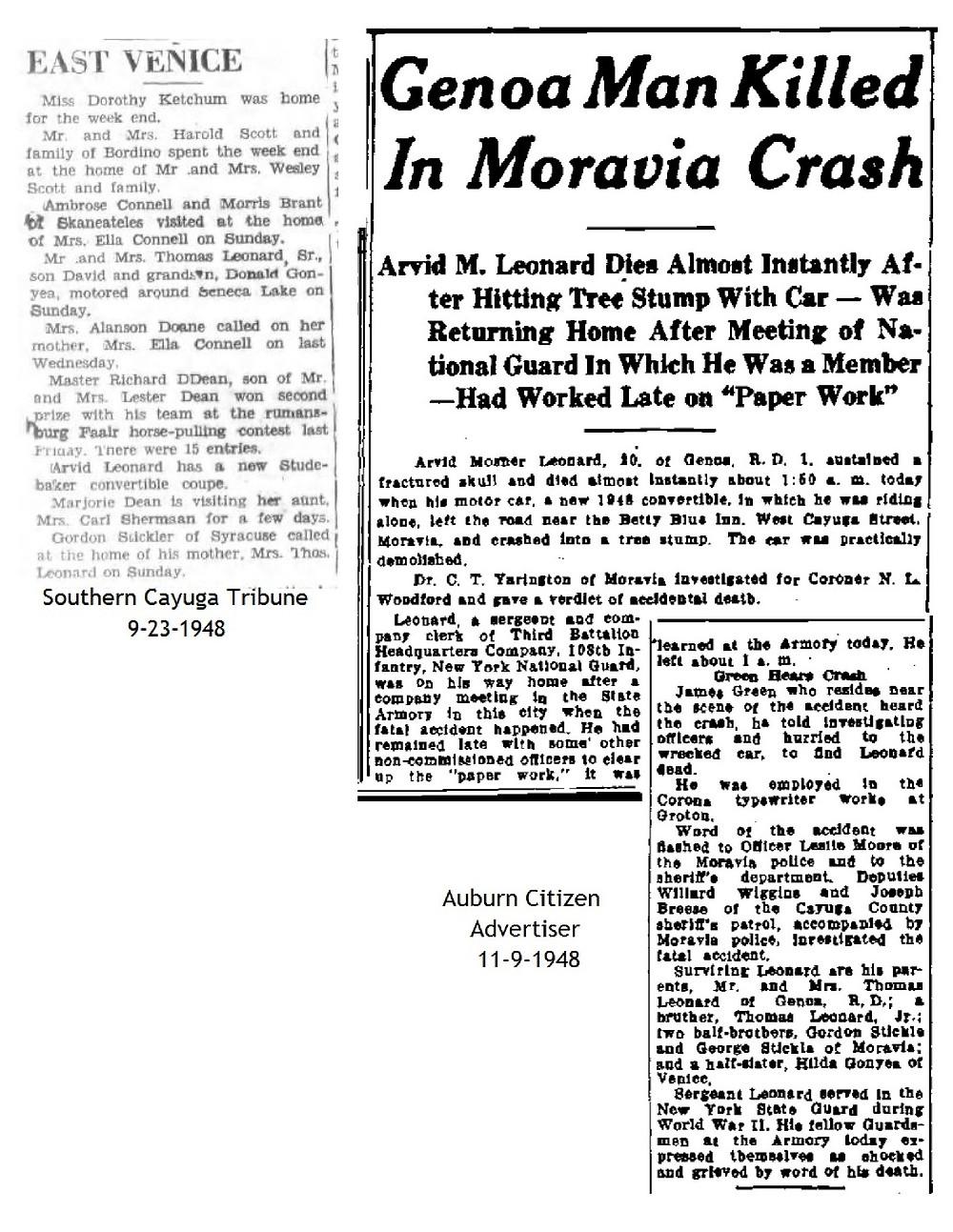 Arvid M. Leonard dies 1948