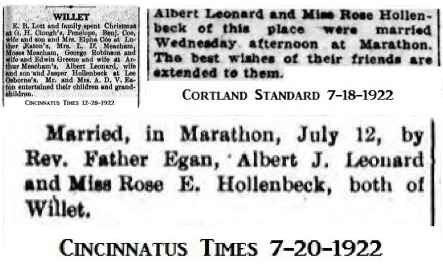 Albert J Leonard first marriage and son
