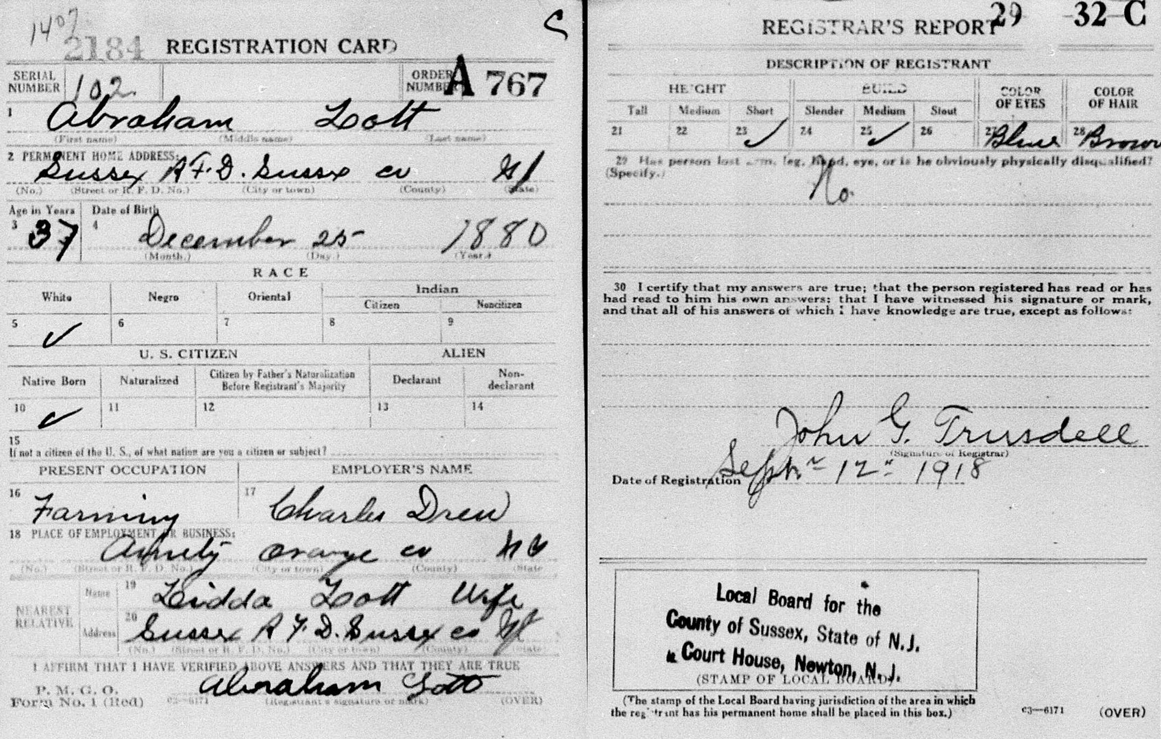 Percy H Daniels draft registration WWI