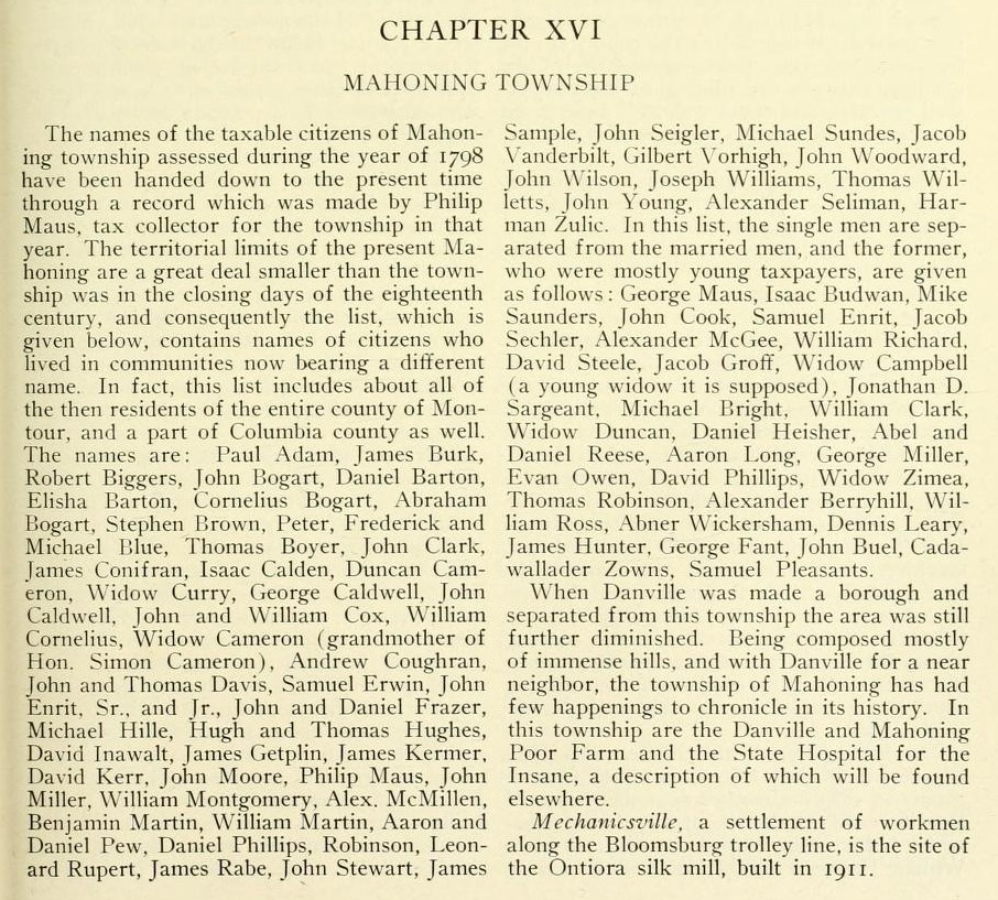 Daniel Reese, bachelor in Mahoning twp, PA 1798