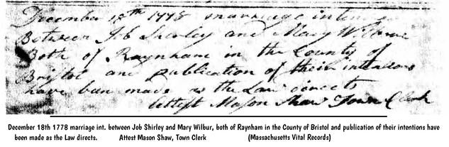 Job Shirley marries Mary Wilbur