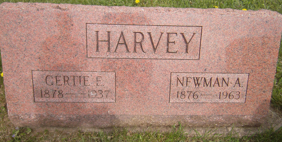 Newman and Gertrude (Shirley) Harvey burial