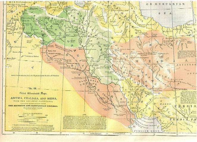Map IX - ASSYRIA, CHALDAEA, AND MEDIA, WITH THE ADJACENT COUNTRIES, CONSTITUTING THE MOST IMPORTANT PARTS OF THE ASSYRIAN AND BABYLONIAN EMPIRES