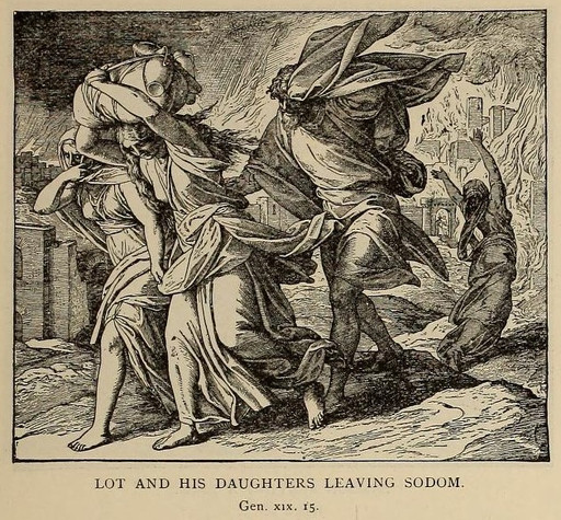 The angels warn Lot to leave Sodom