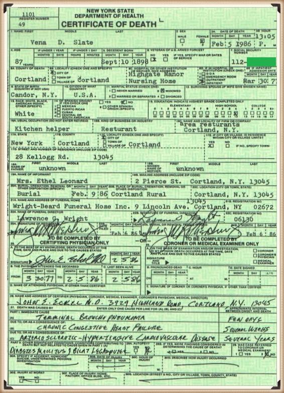 Vena (Dykeman) Daniels death certificate