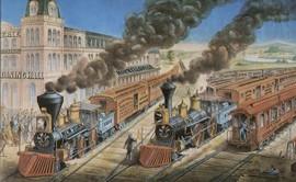 AMERICAN RAILWAY SCENE AT HORNELLSVILLE, ERIE RAILWAY