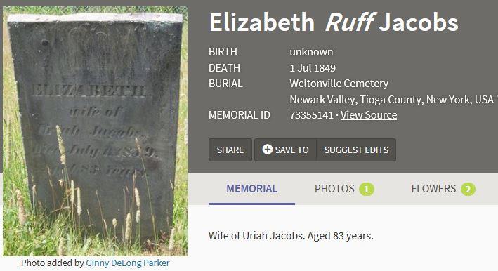 Elizabeth (Ruff) Jacobs burial