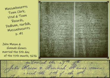 Hannah Hawes marries John Mason 1676