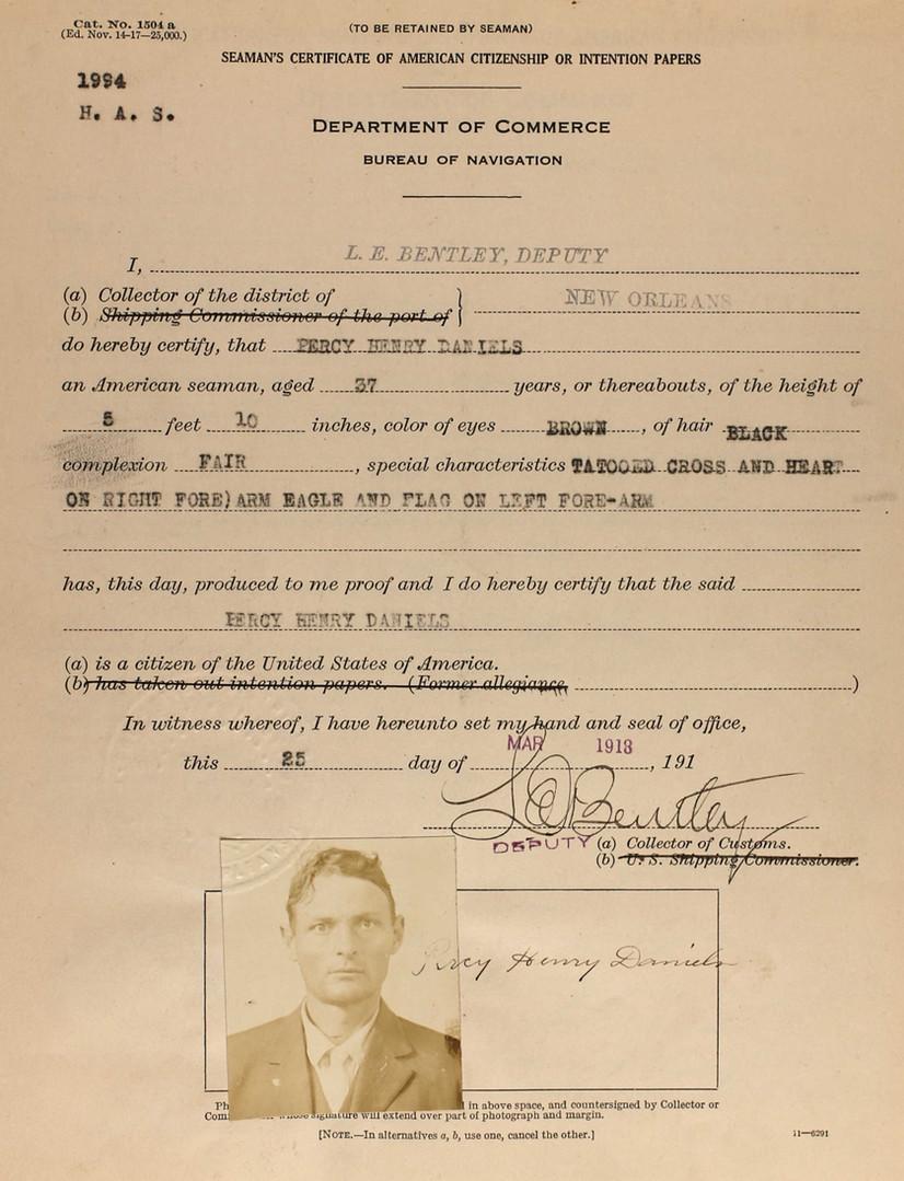 Percy H Daniels Seaman's ID 1918