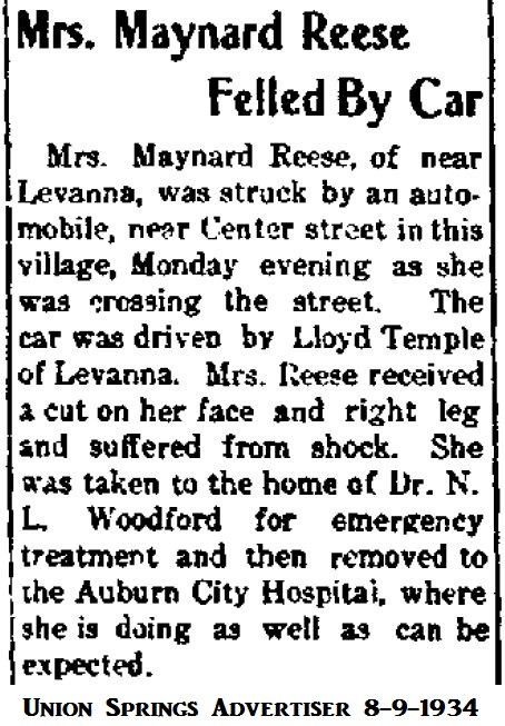 Ada (Temple) Reese hit by car