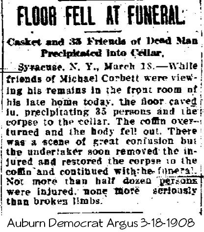 Floor caves in at funeral 1908